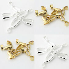 50Pcs Silver/Gold Plated 18KGP Pinch Clip Connectors Bails For Jewelry 14-26mm