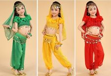 Kids Girls Belly Dance Costume Outfit Top Pants Bollywood Indian Dance Carnival