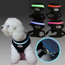 NEW Pet Dog Cat Puppy Cute Vest Harness Soft Mesh Clothes With LED Light  M L XL