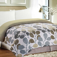 NEW Twin Full Queen King Size Bed Leaves Black Gray Brown Taupe White Comforter