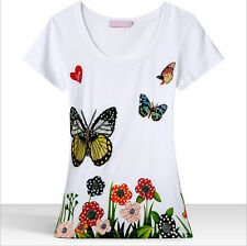 Top Women's Love Rhinestone Butterfly Floral Pattern Cotton Moschino Tee Shirt