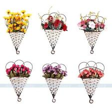 6 Styles Artificial Flowers Hanging Basket Silk Roses/Sunflowers Home Wall Decor