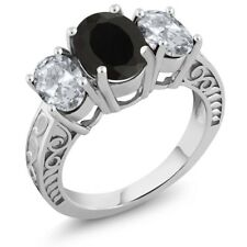 3.90 Ct Oval Black Onyx White Topaz 925 Sterling Silver Ring