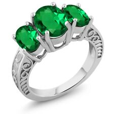 2.70 Ct Oval Green Simulated Emerald 925 Sterling Silver Ring