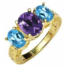 3.56 Ct Oval Purple Amethyst Swiss Blue Topaz 18K Yellow Gold Plated Silver Ring