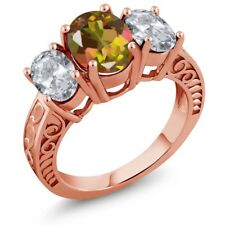 3.70 Ct Oval Mango Mystic Topaz White Topaz 18K Rose Gold Plated Silver Ring