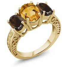 3.00 Ct Yellow Citrine Brown Smoky Quartz 18K Yellow Gold Plated Silver Ring
