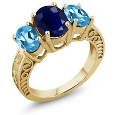 4.40 Ct Oval Blue Sapphire Swiss Blue Topaz 18K Yellow Gold Plated Silver Ring