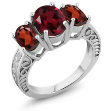3.80 Ct Oval Red Rhodolite Garnet Red Garnet 925 Sterling Silver Ring