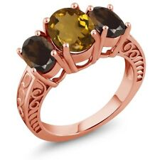 2.90 Ct Oval Whiskey Quartz Brown Smoky Quartz 18K Rose Gold Plated Silver Ring
