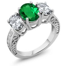 4.50 Ct Oval Green Simulated Emerald 925 Sterling Silver Ring