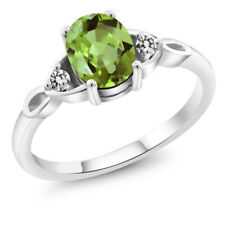 1.40 Ct Oval Natural Green Peridot and White Diamond 925 Sterling Silver Ring