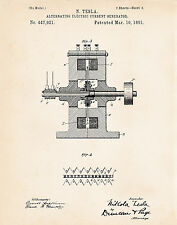 1891 Nikola Tesla Inventions Alternating Electric Current Generator Patent Print