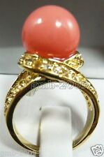 Rare 12mm Coral Pink South Sea Shell Pearl 18KGP Ring Size 7/8/9 AAA