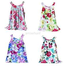Summer Kids Girl Toddler Baby Princess Sleeveless Floral Fancy Dress Clothes A32