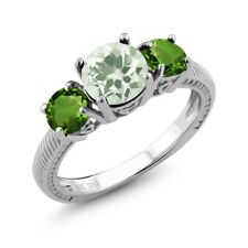 2.10 Ct Round Green Amethyst Green Chrome Diopside 925 Sterling Silver Ring