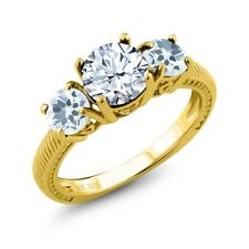 2.20 Ct Round White Topaz Sky Blue Aquamarine 18K Yellow Gold Plated Silver Ring