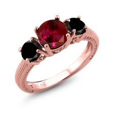 2.65 Ct Round Red Created Ruby Black Diamond 18K Rose Gold Plated Silver Ring