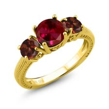 2.65 Ct Round Red Created Ruby Red Garnet 18K Yellow Gold Plated Silver Ring