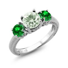 2.78 Ct Round Green Amethyst Green Simulated Emerald 925 Sterling Silver Ring