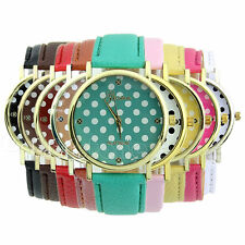 New Classic Women Girl Geneva Dot Print Leatheroid Analog Quartz Wrist Watches