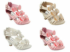 GIRLS SATIN DIAMANTE BOW BRIDESMAID PARTY WEDDING SANDALS SHOES UK SIZE 10-4