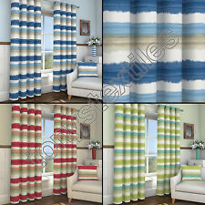 STRIPED RING TOP LINED PAIR EYELET READY MADE CURTAINS BLUE RED CREAM GREEN