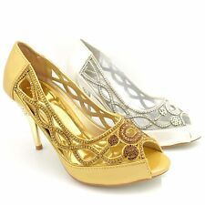 WOMENS LADIES DIAMANTE HIGH HEEL PROM SHOES WEDDING BRIDAL EVENING PARTY Y429-5