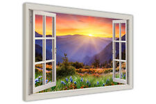 MOUNTAIN SUNRISE LANDSCAPE 3D WINDOW BAY VIEW CANVAS PICTURES WALL ART PRINTS