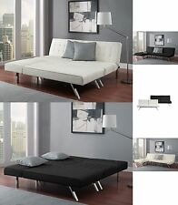 Sofa Bed Sleeper with Chaise Lounger Queen Bed Faux Leather Convertible Couch