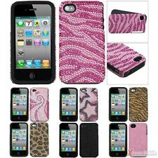 For APPLE iPhone 4/4S Case Cover Bling Rhinestone Fusion Silicone