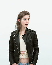 ZARA BLACK FAUX LEATHER QUILTED BIKER JACKET SIZE EXTRA SMALL SMALL MEDIUM