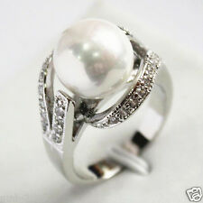 12mm White South Sea Shell Pearl Gemstone Jewelry Ring Size 6/7/8/9 AAA Grade
