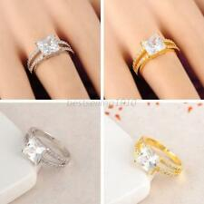 Womens Square Diamond Crystal Band Plated Wedding Engagement Ring Size 5 6 7 8 9