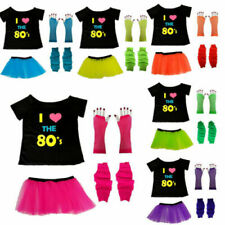 NEON TUTU SKIRT VEST TOP GLOVES LEGWARMERS 1980S FANCY DRESS COSTUME