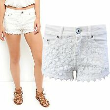 NEW WOMENS WHITE DENIM DAISY FLORAL LACE HOT PANTS LADIES STRETCH JEANS SHORTS