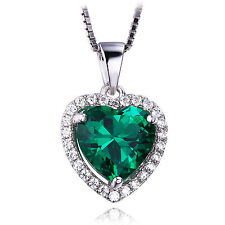JewelryPalace Nano Russian Emerald Pendent Necklace Solid 925 Sterling Silver