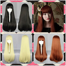 Long Straight Full Bangs Hair Lolita 3 color Cosplay Party black Gradient Wig