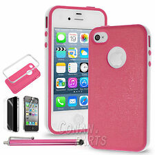 For iPhone 4 / 4S Rugged Rubber Matte Hard Bumper Case Cover w/ Screen Protect