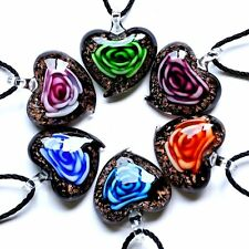 6pcs Wholesale Rose Flower Lampwork Heart Murano Glass Pendant Necklace Rope Hot