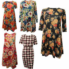 NEW WOMEN LADIES FLORAL CHECK PRINT MULTI COLOURED SKATER PARTY MIDI DRESS TOPS