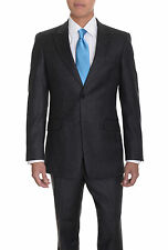 Tommy Hilfiger Trim Fit Gray Striped Two Button Wool Suit With Peak Lapels