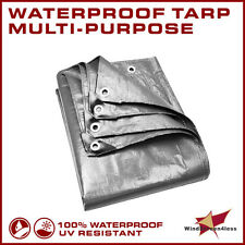 Silver Tarp Reinforced Weather Water Resistant Strong Poly Tarpaulin Cover Tent