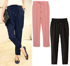 Womens Chiffon Elastic Waist Harem Pants Summer Casual Pants Drawstring Trousers