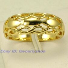5#,6# RING ELEGANT WOVEN STYLE REAL 18K YELLOW GOLD PLATED SOLID FILL GP GEP