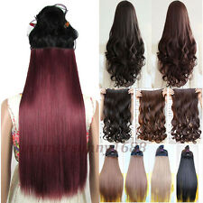 Beauty Lady Women Clip in on Hair Extensions Curly Straight Black Brown Red sn85