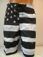 MEN'S American FLAG  SWIM TRUNK BOARD SHORTS Black & White OLD GLORY USA