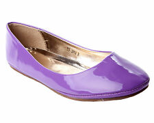 WOMENS PURPLE PATENT FLAT DOLLY BALLET BALLERINA PUMPS SHOES LADIES UK SIZE 3-8
