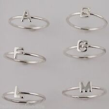 Initial Ring - 925 Sterling Silver - Stacking Letter Initial Rings Letters A-Y
