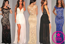 Womens Ladies Maxi Bridesmaid Wedding Outfits Lace Ball Gown Long Prom Dresses